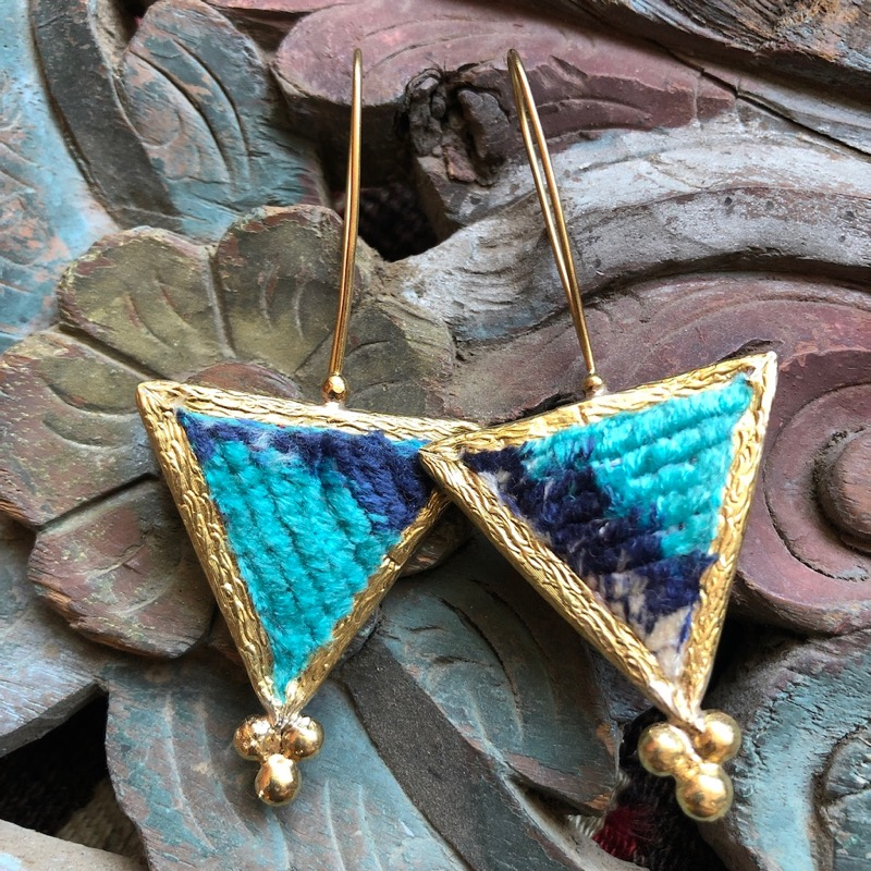 (AE250) Ottoman Design Earrings 75mm x 32mm