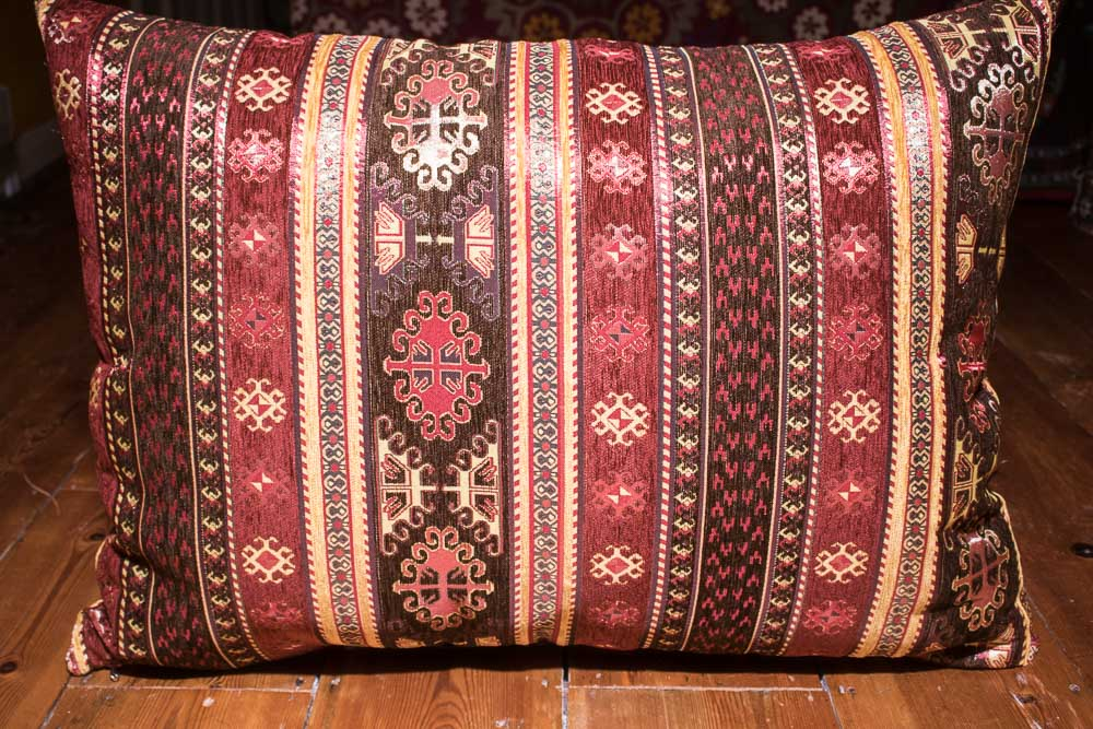 Large Brown Burgundy Stripe Ottoman Turkish Floor Cushion Cover 68x94cm